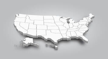 3-D map of USA