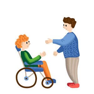 illustration of man talking to person in wheelchair